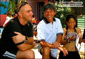 Richard, Joseph and Ev sharing a laugh on the island